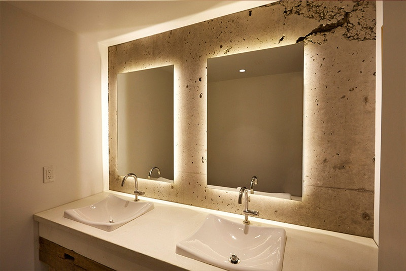 Backlit bathroom mirror