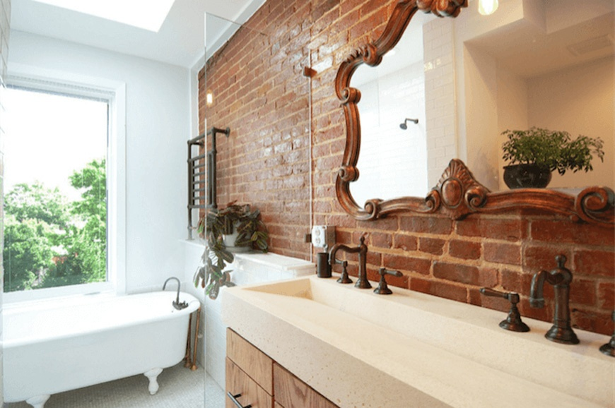 Mirror on exposed brick