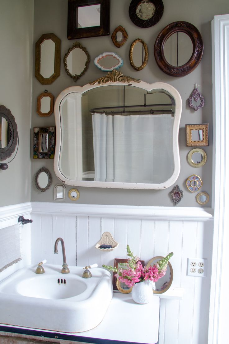 Mixed and matched bathroom mirrors