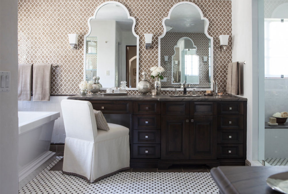 Choose an unconventional shape for your bathroom mirror