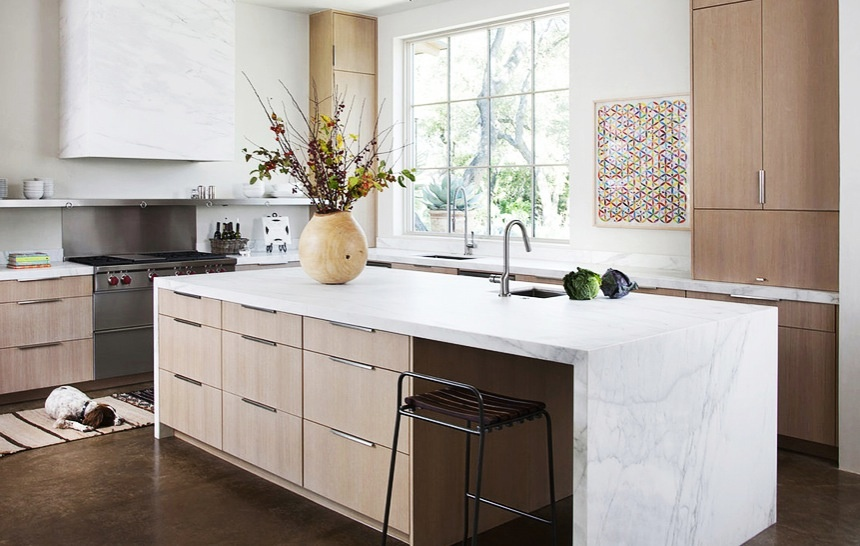8 of Our Favourite Kitchen Island Design Ideas - Waterfall Countertops