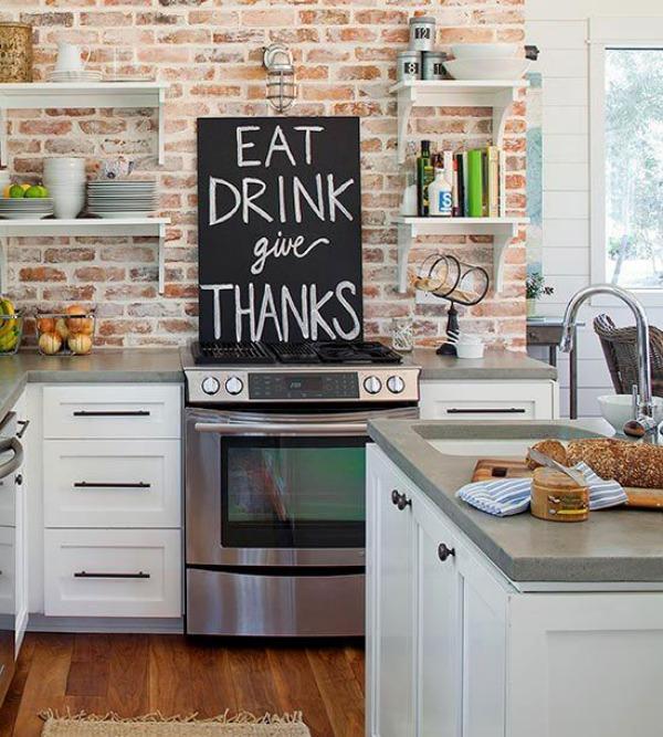 6 Unique Kitchen Backsplash Ideas That Provide Protection - Brick Backsplash