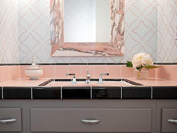 Embrace Retro and Chic Style With Pink Bathroom Tiles - Add Contrasting Colours