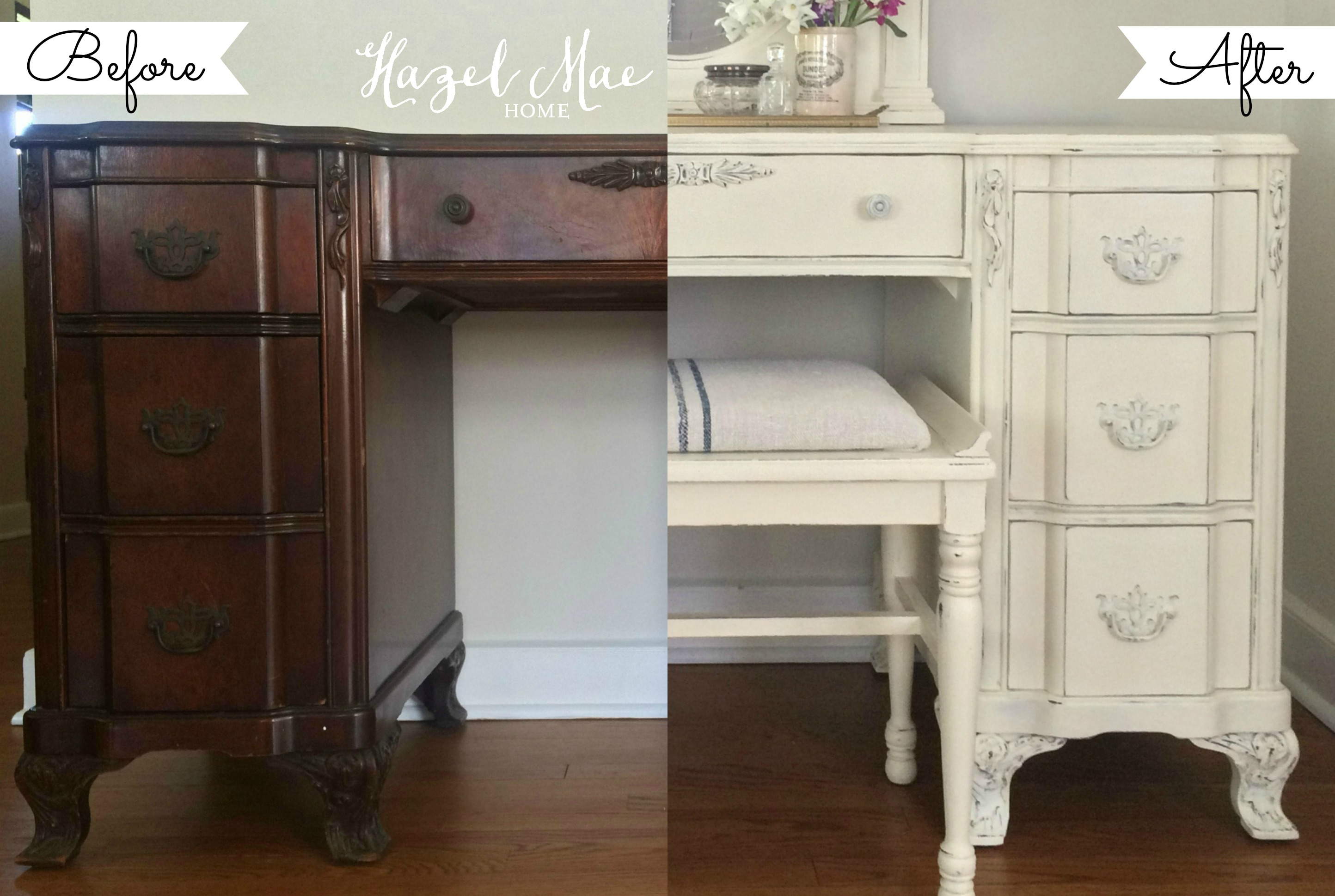 4 Ideas for a Unique Seated Vanity for Your Bathroom - Desk to Vanity