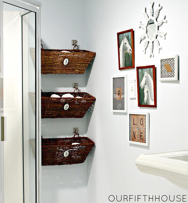 7 Genius Pedestal Sink Storage Ideas for Your Home - Hang Some Baskets