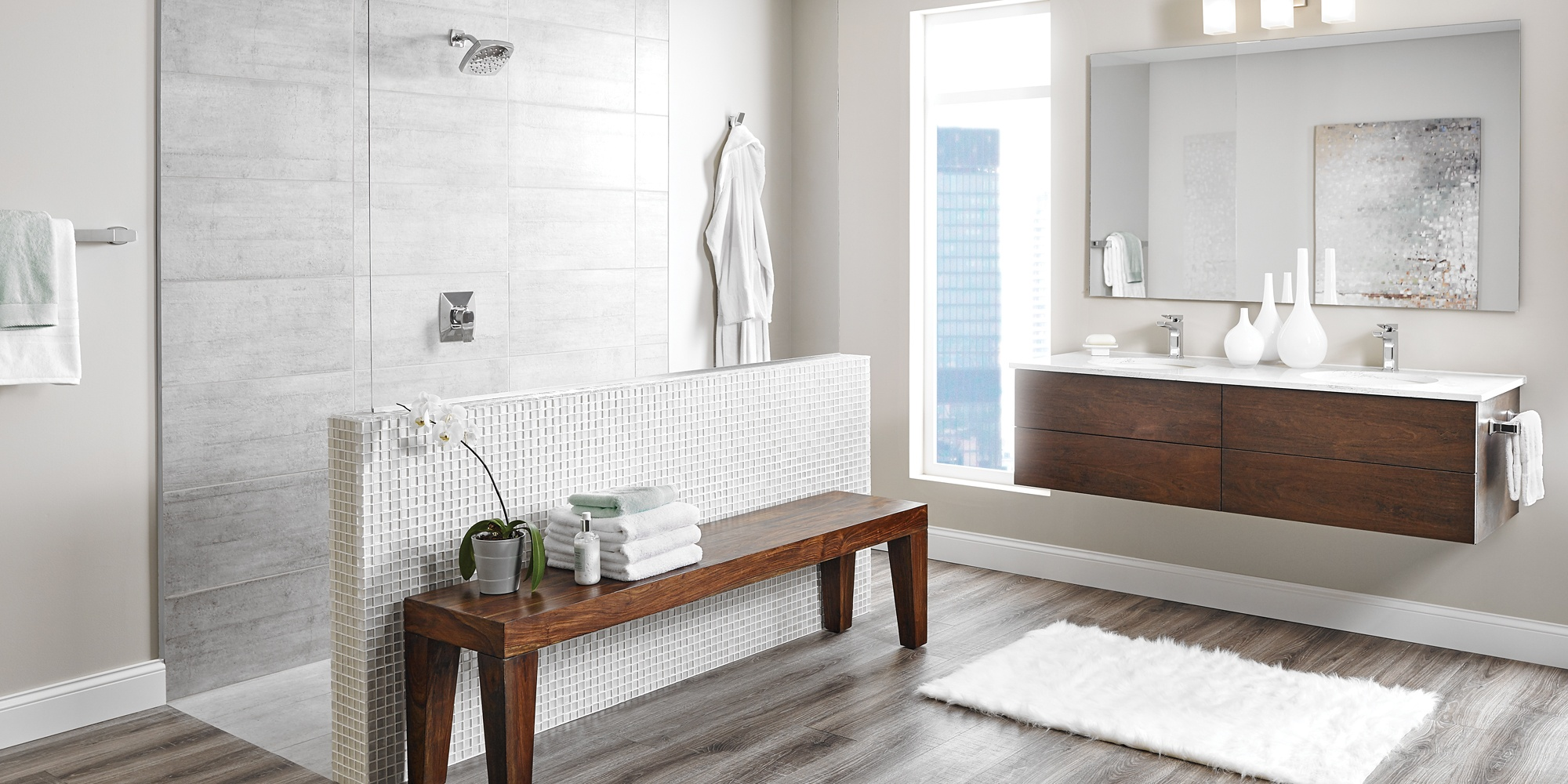How to Create a Beautiful Hotel Bathroom at Home - Moen Shower Head