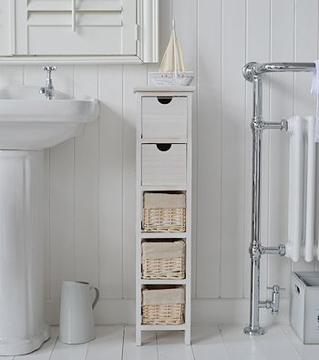 7 Genius Pedestal Sink Storage Ideas for Your Home - Add a Narrow Cabinet