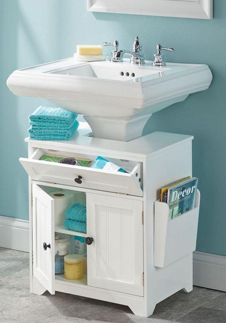 7 Genius Pedestal Sink Storage Ideas for Your Home - Add a Pedestal Sink Cabinet