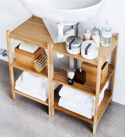 7 Apartment Bathroom Ideas For Your First Place - Pedestal Sink Storage