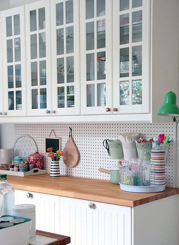 6 Unique Kitchen Backsplash Ideas That Provide Protection - Pegboard Backsplash