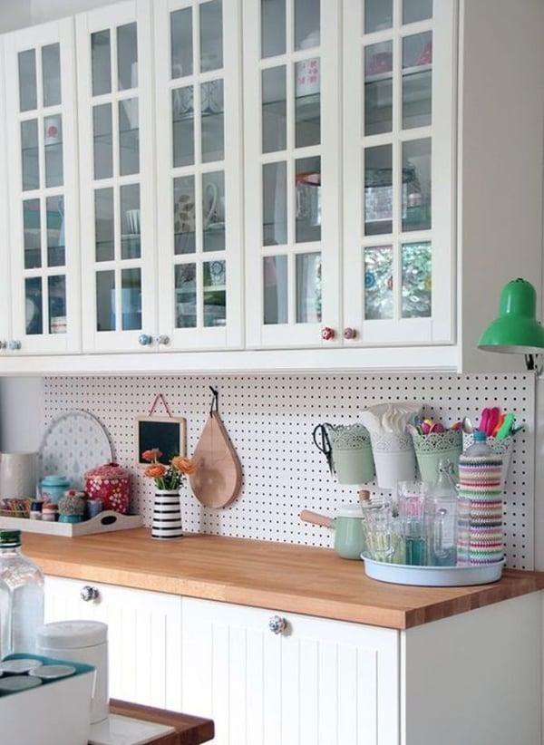 6 Unique Kitchen Backsplash Ideas That Provide Protection - Pegboard Backsplash