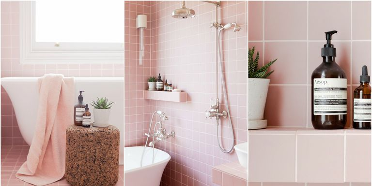 Embrace Retro and Chic Style With Pink Bathroom Tiles - Go Geometric