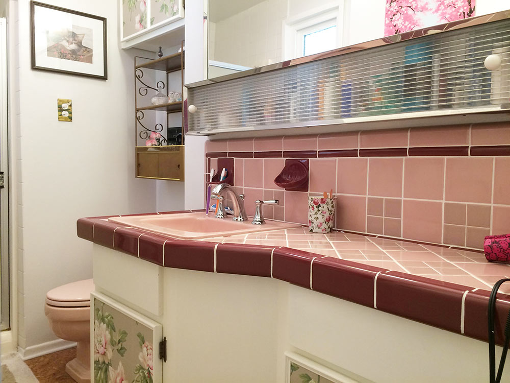 Embrace Retro and Chic Style With Pink Bathroom Tiles - Add Burgundy or Maroon