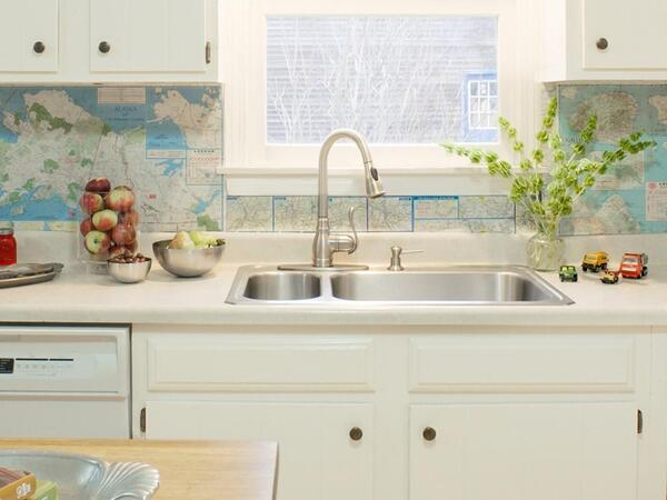 6 Unique Kitchen Backsplash Ideas That Provide Protection - Recycled Map Backsplash