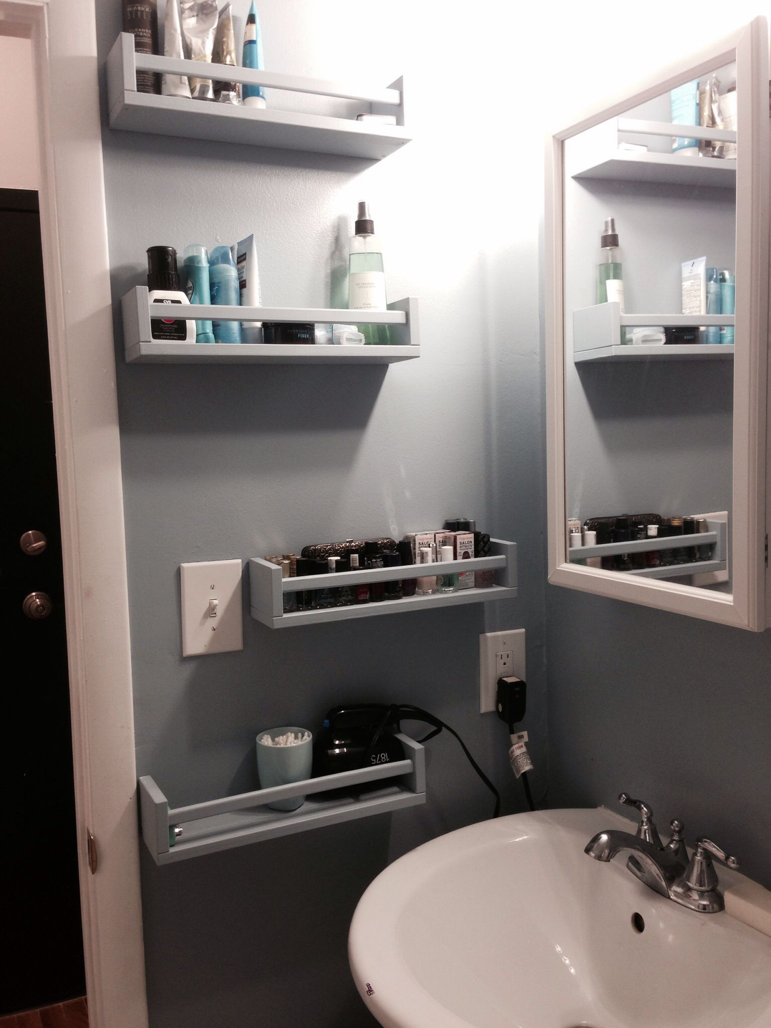 7 Genius Pedestal Sink Storage Ideas for Your Home - Use a Spice Rack