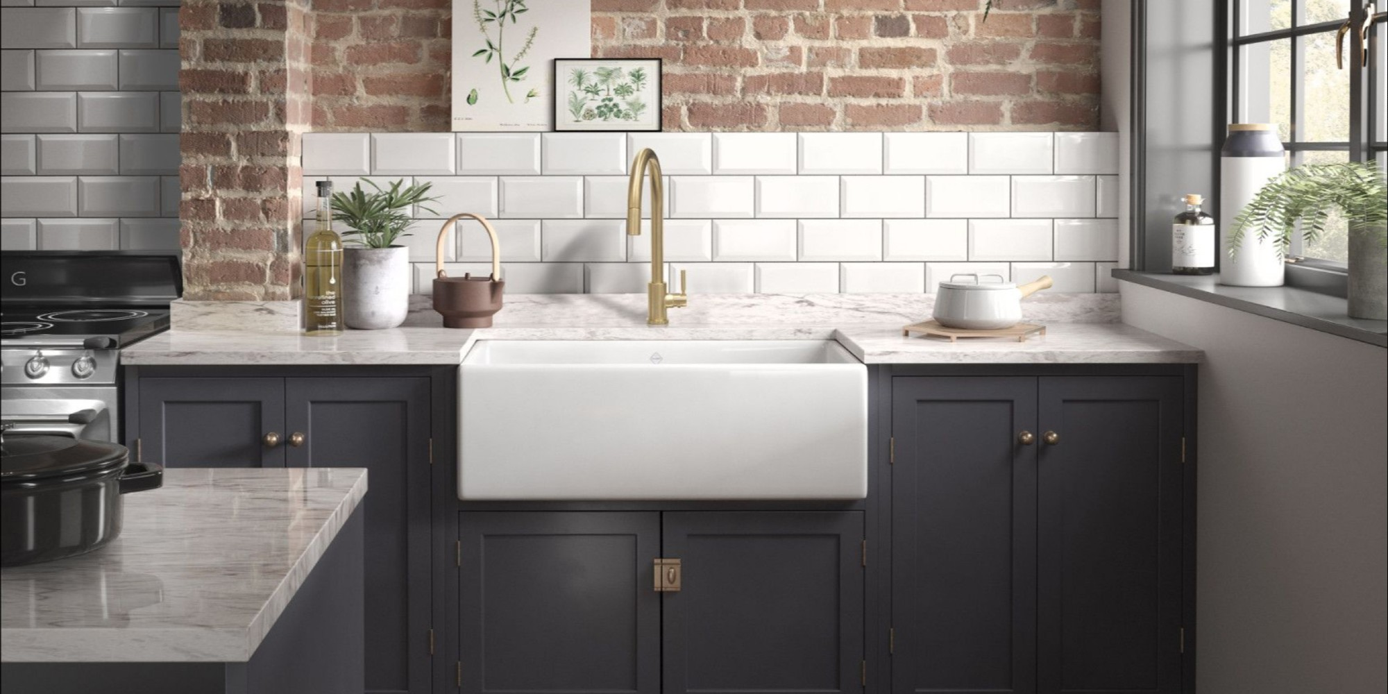 Kitchen Sink with Multi-tone Hardware and Faucet