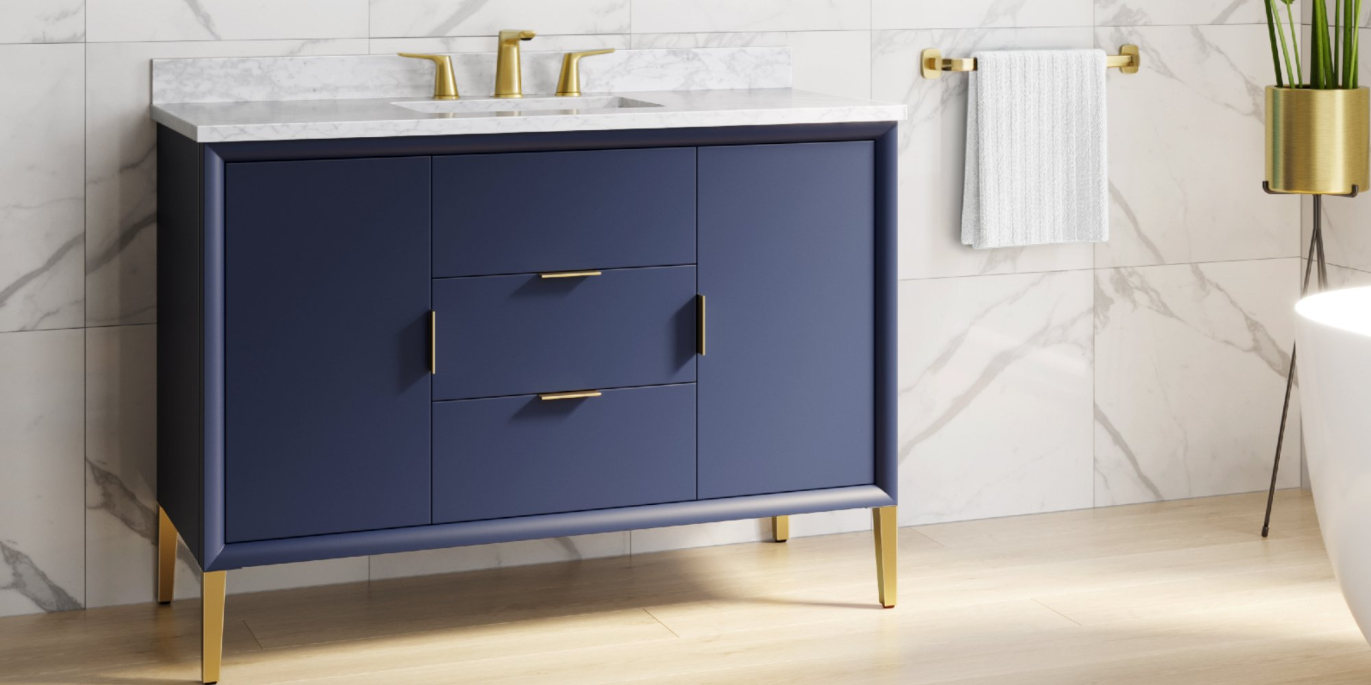 2020 bathroom design trend inspiration featuring the blue Arya vanity from Frederick York