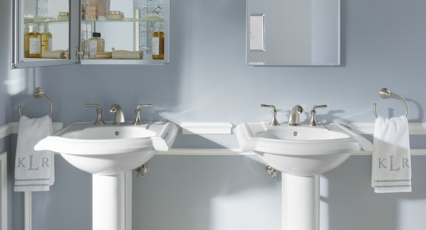 7 Genius Pedestal Sink Storage Ideas